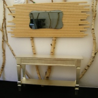 Miroir bois naturel console dorée fabriqué en France
