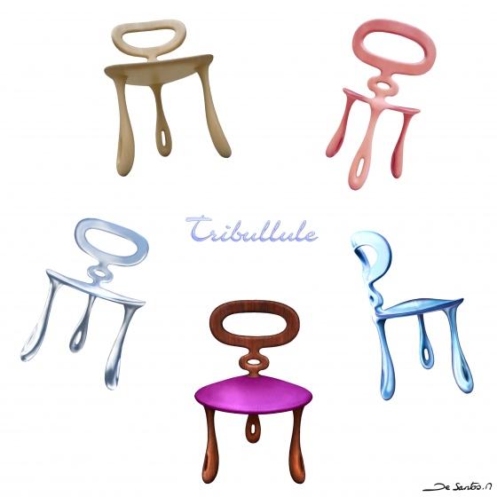 La chaise Tribullule se distingue par ses trois pieds et la forme triangulaire de son assise