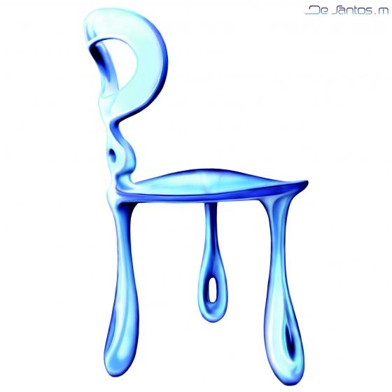 Le design de cette chaise tripode est d'inspiration organique et symbolique